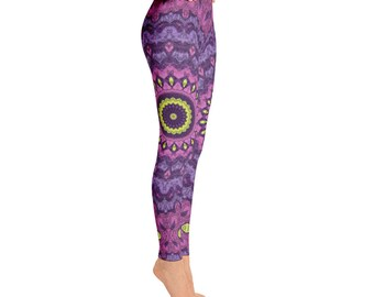 Fun and Funky Leggings - Workout Clothes for Women, Mandala Pattern Leggings Tights, Stretchy Yoga Pants