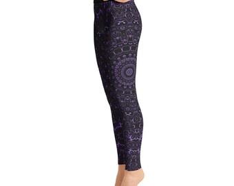 Amethyst Yoga Pants - Black Leggings with Purple Mandala Designs for Women, Printed Leggings, Pattern Yoga Tights