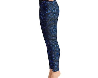 Azure Yoga Pants - Black Leggings with Blue Mandala Designs for Women, Printed Leggings, Pattern Yoga Tights