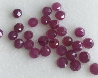 Ruby 3 mm Rose Cut Round Cabochons. Natural Ruby Faceted Cabs / July Birthstone / Price per 3 pieces.