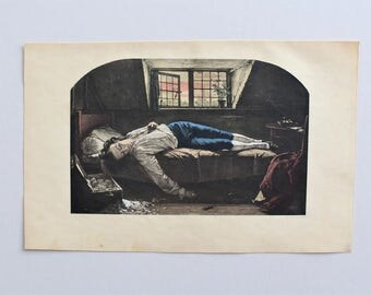 "Antique Print  ""The Death of Chatterton"" - Hand Colored Photogravure Etching - Intaglio Engraving Pre-Raphaelite Art"