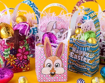 Easter gift etsy diy easter gift bags template set of 8 printable pdf coloring templates to make and negle Image collections