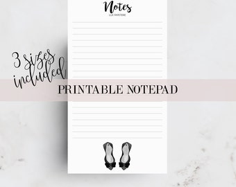 Printable Notepad, Planner inserts, Notes pages, Boss Lady printable, Personal planner, A5, Pocket, Notes Printable, Planner Pages, Filofax