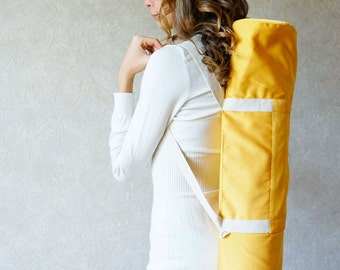 Yellow yoga mat bag with pocket / Sun W Foyo / free shipping