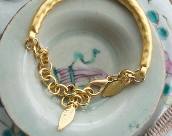 Gold chain link bangle bracelet