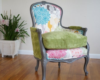 Vintage Upholstered Contemporary Louis XVI Style French Bergere Chair - SOLD