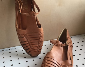 Vintage Huaraches Mary Jane Woven Leather Brazilian Size 10 Summer Brown Sandals