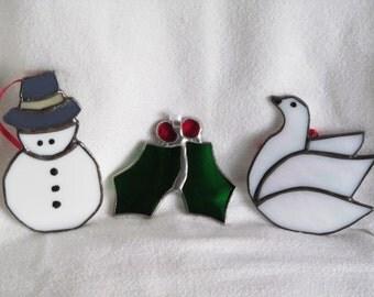 christmas ornaments, christmas, holly, snowman, dove, glass, sun catcher, gift, friend, grandchildren, 3for25
