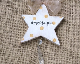New Year Ornament, Wooden Star, New Year Star, Christmas Star, Happy New Year, Suncatcher, Star with Crystal, Hanging Star, Holiday Ornament
