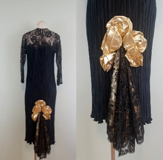 1980s Vintage Evening Gown / Midi to Maxi Length Little Black Dress / Lace Sleeves / Gold Lame Godet Train / Modern Size Extra Small XS