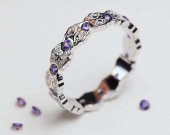 Purple Sapphire Ring, White Gold Ring, Art Deco Ring, Sapphire Wedding Band, Purple Sapphires, Lace Ring, Sapphire Gold Ring, Purple
