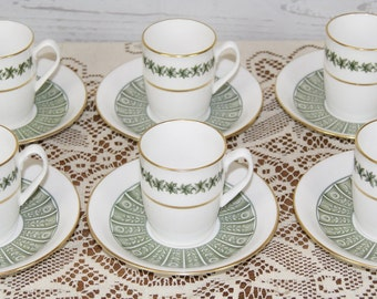 Set 6 x Spode Provence Pattern Fine Porcelain Coffee Demitasse Cups Cans with Saucers
