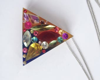 Resin Triangle Gemstone Necklace, Triangle Resin Pendant, Geometric Necklace, Gemstone Necklace