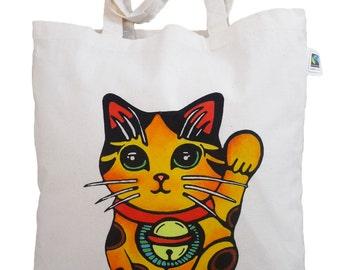 "Jute bag ""Maneki Neko"", on nature, multi colored handpainted"
