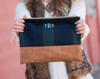 Monogrammed Personalized Zipper Pouch, Monogram makeup bag, Monogrammed Clutch, Monogrammed Gift, For her