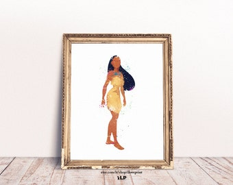 Pocahontas Watercolor Art. Disney Pocahontas Poster. Princess Pocahontas Watercolor. Beautiful print for baby girl bedroom. Nursery Wall Art