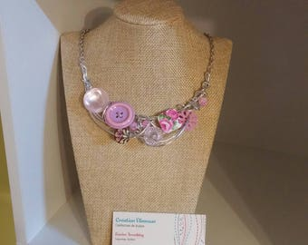 Pink madness necklace, silver wire