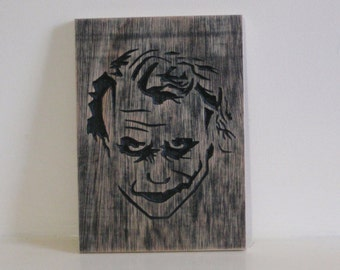 Heath ledger as the joker wood carving, batman, dark knight,  joker art, movie decor wall art