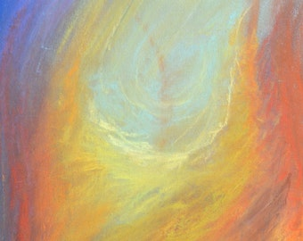 Original Pastel- Blue,red,yellow- Abstrat painting-fire-sky-Colored drawing-Nature illustration-Original Gift-birthday-Daygift