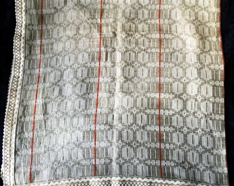 Folk Art of Linen- Home Woven Ornamented Square Tablecloth