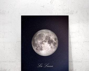 Moon Poster, Full Moon Print, La Luna Print, La Lune Poster, La Luna Printable, Moon Print, La Lune Wall Art, Full Moon Poster, Full Moon