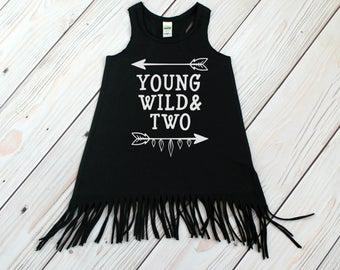 Young Wild and Two - Fringe Dress - Girl Second Birthday - Swimsuit Coverup - Baby Fringe Dress - Toddler Fringe Dress - 2nd Birthday Outfit