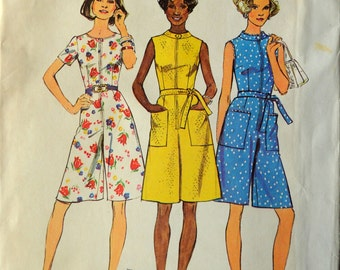 Uncut 1970s Simplicity Vintage Sewing Pattern 6453, Size 16; Misses' and Women's Short Pantdress