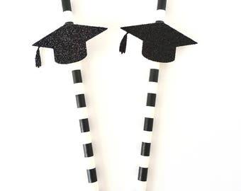 Graduation Party Paper Straws - Set of 12