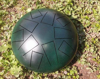 tank drum, handpan, hank drum, steel tongue drum, basic black/green, 10 tones