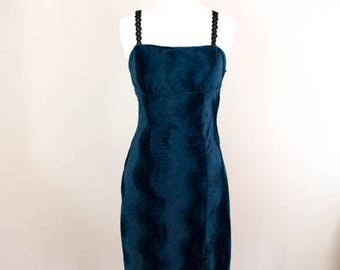 Swirl 90s Velvet Dress - XS - 90s Dress - 90s Clothing - 90s Prom Dress - Blue Velvet Dress - Velvet Prom Dress - 90s Grunge -