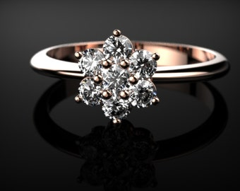 White Sapphire Engagement Ring Rose Gold Engagement Ring White Sapphire Rose Gold Rose Ring Gold White Sapphire Ring