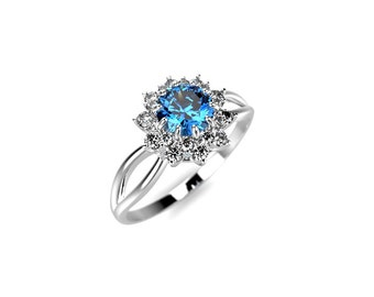 Blue Diamond Engagement Ring White Gold Genuine Blue Diamond Ring Blue Diamond Engagement Ring Genuine Blue Diamond White Gold Ring