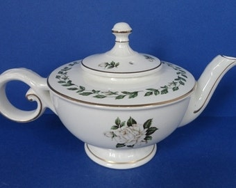 Vintage Hall China Cameo Rose Teapot - Jewel Tea Company