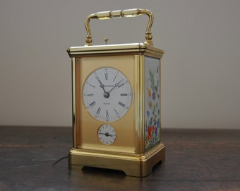 A L'epee for Tiffany & Co French Brass and Porcelain Strike/Repeat/Alarm Carriage Clock