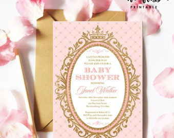 Pink and Gold Princess Baby Shower Invitation | 5x7 | Editable PDF | Instant Download | Personalize with Adobe Reader