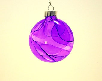 Unique Glass ornament,Glass art,Hand painted glass ornament,unique,one of a kind, gift,purples,collectible,coworker gift