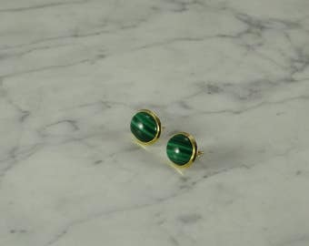 14K Gold / Malachite Earrings (pierced)