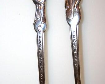 Yogi Bear and Huckleberry Hound Spoons//International Silver Co.//Hanna Barbera Productions//Vintage Spoons