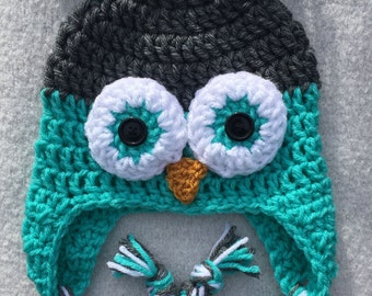 Green and grey owl hat with ear flaps and braids - size for 3-5 year old child  - handmade crochet item