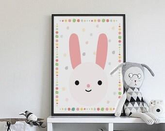 Bunny print, baby room decor, art for kids room, colorful wall art, girl nursery wall art, nursery prints girl, pink nursery decor, rabbit