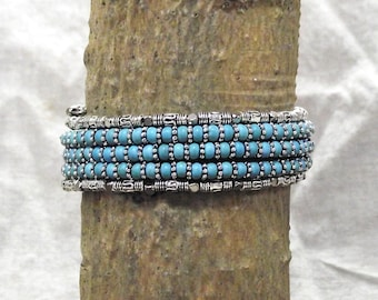 Classy Turquoise and Silver Bead 5 Loop Memory Wire Bracelet