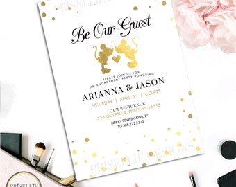 Disney Engagement Party Invitation, Be Our Guest Engagement Party Invitation, Engagement Party Invitation, Disney Engagement Party