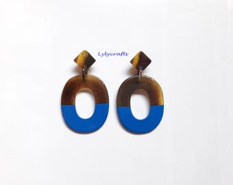 Chic buffalo horn earrings, Lacquering in Royal Blue color [EA-040]