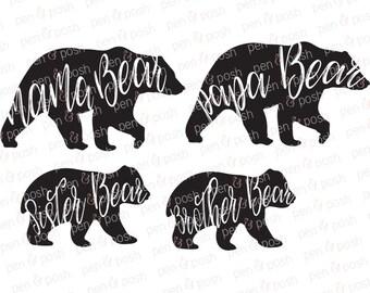 Svg - Momma Bear SVG - Mama Bear SVG - Family Bears SVG - Papa Bear Svg - Sister Bear Svg - Brother Bear Svg - Bear Clipart - Dxf