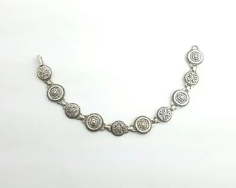 Unique Vintage Sterling Silver Round Filigree Link Bracelet with Alternating Cherry Blossom & Compass Rose Designs
