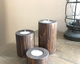 Rustic Wood Tea Light Candle Holder Set
