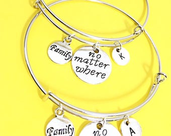 2 Set No matter where, distance charm bracelet, no matter where pendant, friendship bangle bracelet,long distance jewelry, anchor, bff gift