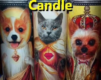Your Pet - ANY animal -  is a Saint ---- on a CANDLE - Personal Pet Custom Saint Prayer Candle
