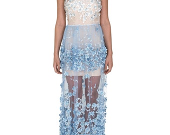 Embroidered Blue Lace Gown