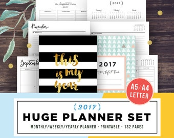 2017 Planner Printable, 2017 Agenda, Planner Inserts, Printable Planner 2017, Weekly, Yearly Planner, A5, Letter, Monthly Academic calendar